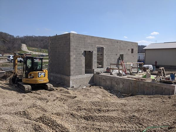 A brick building under construction